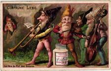 6 Cards c1886 Gnomes Feast King Violin Trumpet Torches Games of Skill Congratuat