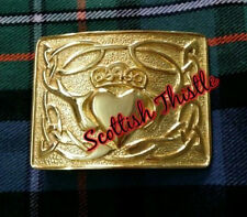 New Men's Kilt Belt Buckle Claddagh Golden Finish/Scottish Belt Buckle Claddagh