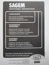 10/1981 PUB SAGEM EQUIPEMENTS AVIONIQUE AVIONIC SYSTEMES COMPOSANTS FRENCH AD