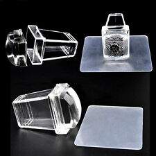 1Pc Nail Art Clear Jelly Silicone Stamper Scraper with Cap Transparent Stamping