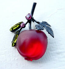 Vintage Austria Crystal Single Large Red Cherry Fruit Brooch/Pin Signed