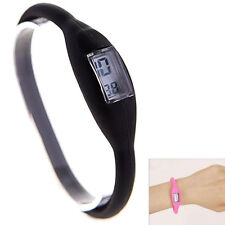 Women Mens Silicone Digital Jelly Anion Sports Casual Bracelet Wrist Watch