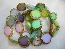 10 16mm Czech Glass Pastel Mix 2 Picasso Table cut Coin Beads