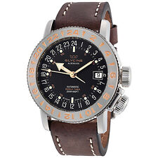 Glycine Men's 3918.196.66.LB7BF Airman 18 Automatic Black Dial Brown Leather