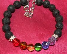 LGBT Gay Pride Rainbow Bracelet Lava Rock Gemstones 6 Color Glass Beads