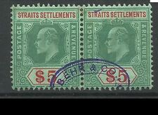 Singapore stamps - Straits Settlements 1906-1912 King Edward $5 Pair used