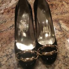 Guess By Marciano Size 8.5 Patent Black Gold Accent Pumps