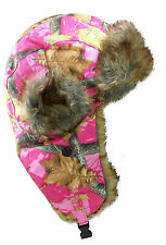 Dakota Dan Hunting Pink Camo Winter Trapper Hat Faux Rabbit Fur Hat Girls Camo