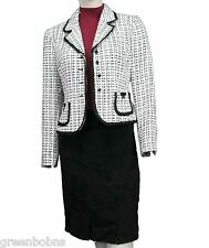 New Tahari Ladies Petite Black/White Button-up Jacket and Crepe Skirt Set  -  2P