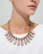JEWELMINT Marguerite Necklace Pink & Antique Gold Statement Necklace NEW IN BOX!
