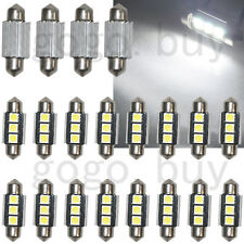 "20 x 1.50"" 36MM Canbus 3 SMD White Dome Festoon LED Light Bulbs 6411 No Error"