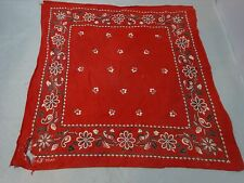 "Vintage 30s ELEPHANT TRUNK DOWN Bandana SCARF Fast Color RED Well Loved 16"" Sq"