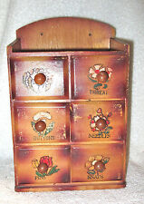 Vintage Wooden Sewing Notions Box, Wall Mount or Table - 6 Drawers - JAPAN