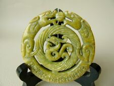 Vintage Jade Dragon Pendant - Double Dragon Chinese jade Pendant