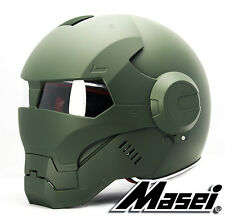 Masei 610 Atomic-Man Iron Flip-Up Bike Motorcycle Helmet Matt Green