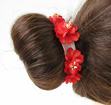 Red Wildflower Flower Bun Garland Wrap Surround Holder Headband Hair Band A38