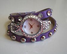 Light Purple/Silver Wrap Around Watch with Bling Sparkly Rhinestones Crystals