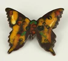 Vintage Costume Jewelry Enamel on Copper 1970's BUTTERFLY Brooch Pin