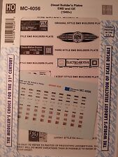 MicroScale Decals #MC-4056 HO Scale Diesel Builder's Plates EMD and GE (1940+)