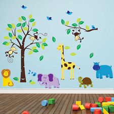 Monkey Tree Birds Animale Giungla Vivaio Bambini Muro Art Adesivi Decalcomanie 40-4
