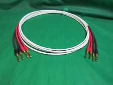 12 Ft Silver Plated 14 AWG Speaker Wire W/ Gold Banana Plugs, set of 4 Cables.
