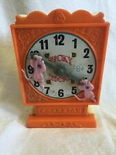 Vintage Cragstan Plastic & Tin Wind Up Toy Mice On A Clock Figure Works HTF