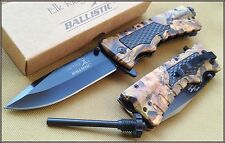 ELK RIDGE 5 INCH CLOSED JUNGLE CAMO SPRING ASSISTED KNIFE WITH FIRE STARTER 440