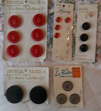Vintage Buttons Mixed Lot Red, Black, Large, Small On Cards