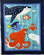 DISNEY FINDING DORY NEMO OCEAN FISH COT QUILT / WALLHANGING FABRIC PANEL