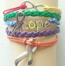 AUTISM AWARENESS,HOPE,INFINITY,LEATHER ADJUSTABLE BRACELET-GAY PRIDE-SILVER#1