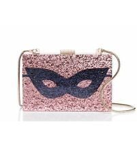 NWT Kate Spade Pink Glitter Resin Dress the Part Mask Clutch/Purse/Bag Sold Out!