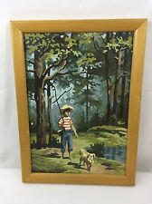 """Vintage Framed Paint By Number Boy Fishing Pole Dog Walking 11"""" X 15"""" With Frame"""