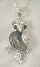 Necklace/Pendant Owl Abalone Shell new w/ chain & box bird