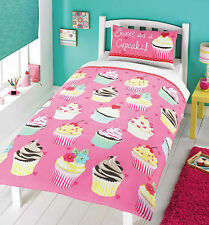 SINGLE BED DUVET COVER SET CUPCAKES HEARTS PINK YELLOW STRAWBERRY DESERT GIRLS