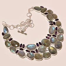 550 CTS!! SPECTACULAR!! AAA LABRADORITE FACETED & AMETHYST 925 SILVER NECKLACE