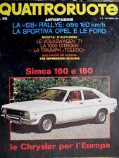 Quattroruote 177 1970 Le Chrysler per l'Europa. La 128 rallye. Simca 160  [Q.36]