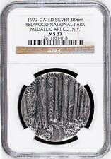 Medallic Art Co Silver Medal - MS67 NGC - Redwood 1972 National Park Token, MACO