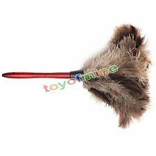 New Anti-static Ostrich Feather Fur Brush Duster Home Dust Cleaner Wooden Handle