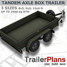 Trailer Plans - TANDEM BOX TRAILER PLANS - 8x5, 9x5, & 10x6ft - PLANS ON CD-ROM