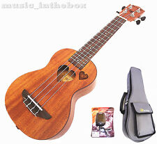 "Sweet 21"" Mahogany with heart hole & heart carved Soprano Ukulele+Padding bag"