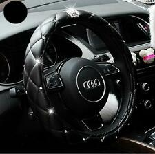 Car Truck Leather Steering Wheel Soft Cover Pink & Black Damping Diameter 38cm O