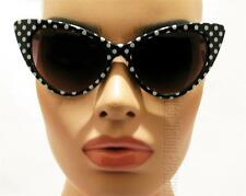 Large Cat Eye Sunglasses Vintage Style Smoke Polka Dot White Black K77DT BK
