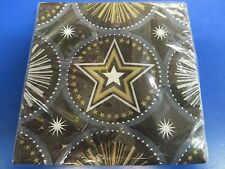 Glitter Starz Black Gold Stars Hollywood Theme Party Paper Beverage Napkins