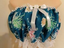 ADULT SISSY FRILLY DRESS UP AQUA BLUE SATINY CAMISOLE FOR PANTIES MEN GIRL BABY
