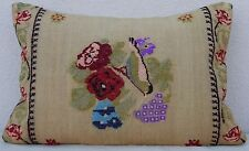 16X24'' French Decor Needlepoint Tapestry Aubusson Kilim Rug Lumbar Pillow Cover