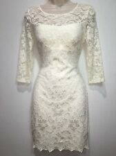 Windsor Women's Jr Medium 7-9 Dress Off White Lace Stretch Bodycon Wedding