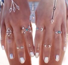 New Tibetan Silver Midi Moon Rings With Turquoise Stones. Bohemian/festival