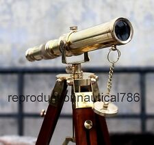 Nautical Marine Brass Telescope With Brown Wooden Stand Collectible Telescope