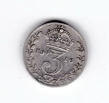 1916 Great Britain Silver Threepence Coin King George T-931