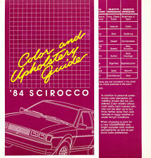 1984 VW Volkswagen Scirocco Color paint and Upholstery Guide Brochure